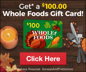 Whole Foods $100 Thanksgiving Theme Gift Card